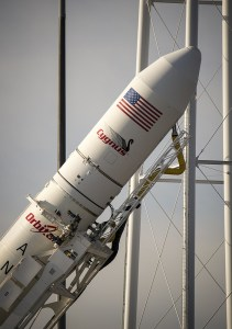 The Antares rocket being lifted vertically onto the pad Dec. 17 (Credit: NASA/Bill Ingalls).