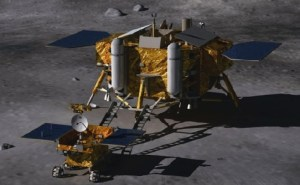 "An artist's concept of the Chang'e 3 lunar lander and its smaller Yutu rover, also named ""Jade Rabbit"", on the surface of the moon (Credits: Beijing Institute of Spacecraft System Engineering)."