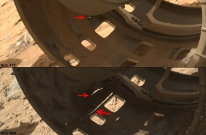 Zoomed-in images of wear on Curiosity's left-front wheel. The top image is from Sol 177 and the bottom image is from Sol 488 (Credits: NASA/JPL).