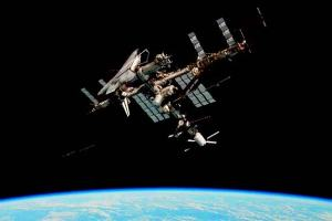 The ISS, pictured here with ATV Johannes Kepler and Shuttle Endeavour docked, is remarkable for both its technological and its diplomatic achievements, bringing together 15 nations including former archenemies US and Russia. – Credits: Paolo Nespoli/NASA