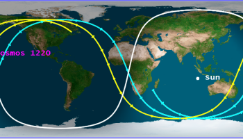 The final reentry track estimate for Cosmos 1220 on February 16 (Credits: The Aerospace Corporation).