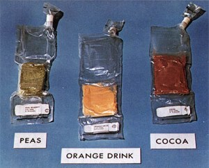 Early space food involved pre-packaged items that although technically safe and nutritious, were not as appetizing as fresh foods. (Credits: NASA)