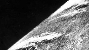First photo of Earth taken from space ever from a camera on V-2 #13, launched October 24, 1946  (Credits: White Sands Missile Range/Applied Physics Laboratory)