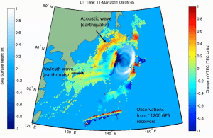 Graphical representation of the Tohoku Earthquake and induced Tsunami.  (Credits: NASA/JPL).