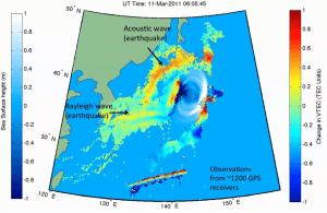 Graphical representation of the Tohoku Earthquake and induced Tsunami.  (Credits: NASA/JPL).