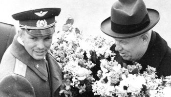 Yuri Gagarin (left) was proudly displayed to the world by a joyful Nikita Khrushchev (right), who recognized the political and ideological advantage which his flight had acquired over the United States (Credits: Roscosmos/The Telegraph).