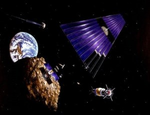 Artists impression of a solar panel array built from asteroid materials. Such arrays could provide unlimited clean energy to the Earth, using microwaves to transmit vast amounts of power from space (Credits: NASA).