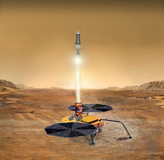 Artist's conception of a Mars Soil Sample Return Mission (Credits: NASA JPL).