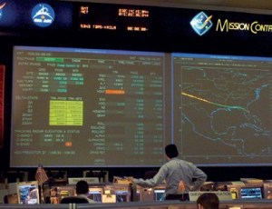 The shuttle flight control room in  Houston's Mission Control Center at JSC right after flight controllers lost contact with the Space Shuttle Columbia (Credits: NASA).