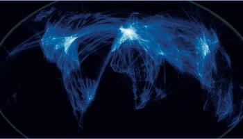 Global air traffic paths.