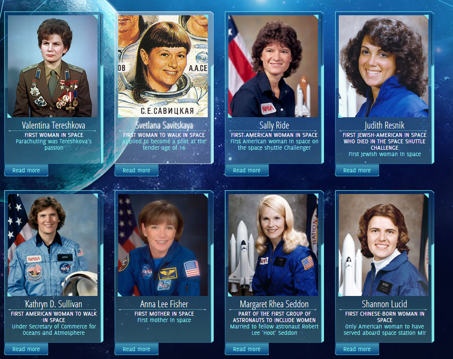 Women in Space website featuring Historic Heroines