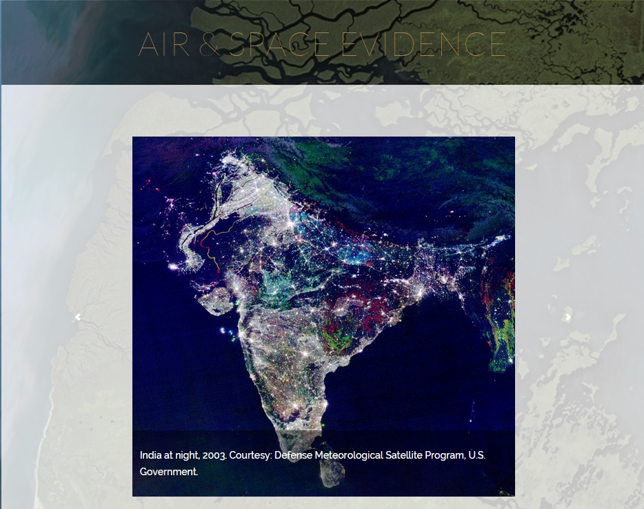 Satellite view of India at night
