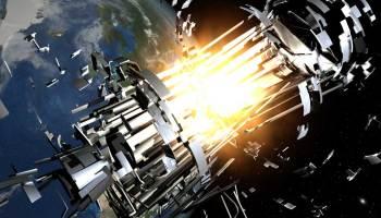 Upper stage rocket explosion