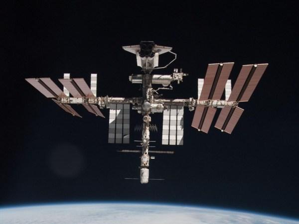 ISS with ATV & Shuttle docked captured by Italian ESA's astronaut Paolo Nespoli. - Credits: ESA/NASA/Roscosmos.