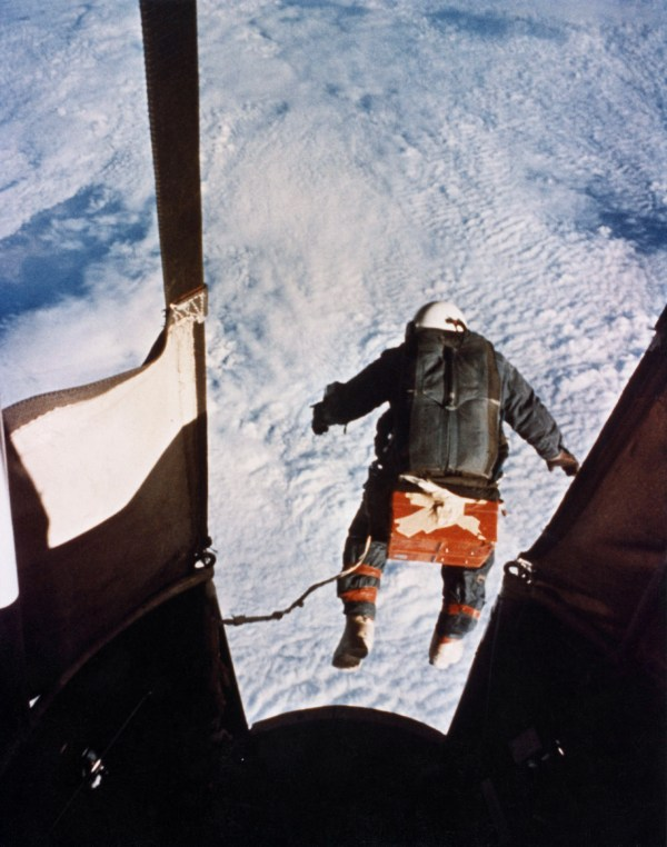 Col. Joseph Kittinger, just after he stepped out from the gondola, on Aug 16, 1960 (Credits: USAF)