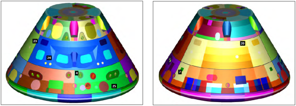 Figure 2,3.EFT- 1 postflight MMOD inspection preliminary findings, backshell TPS: 0° view(left), 180° view(right)