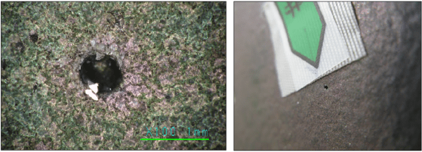 Figure 4. Field imagery of ROI #20, feature size = 0.63 x 0.56 mm, depth = 0.54 mm(left); Figure 5. Field imagery of typical region of interest (ROI #20)(right)