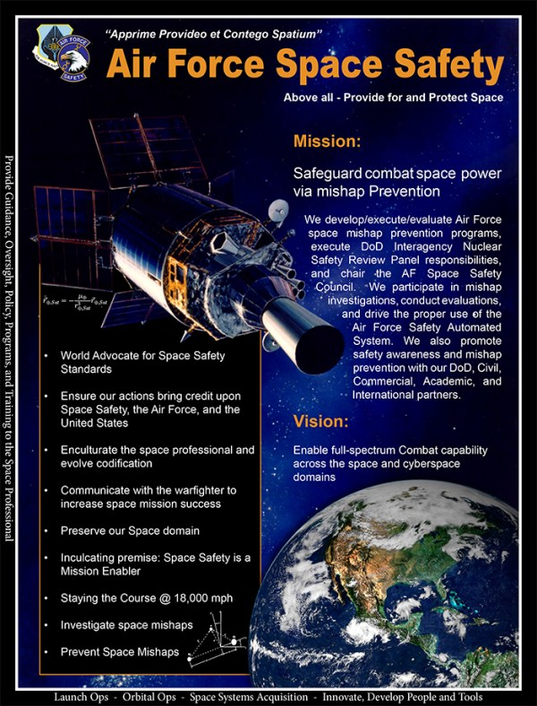 US Air Force Space Safety manifesto. credits: Air Force Sapce Safty Center