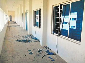 Shattered windows at the college where the meteorite struck. credits: the Hindu