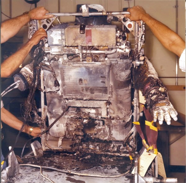 Post-incident analysis of the EMU life support system revealed that the fire was intense enough to burn aluminum. Credits: NASA