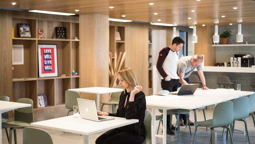 People working in a flexible workspace