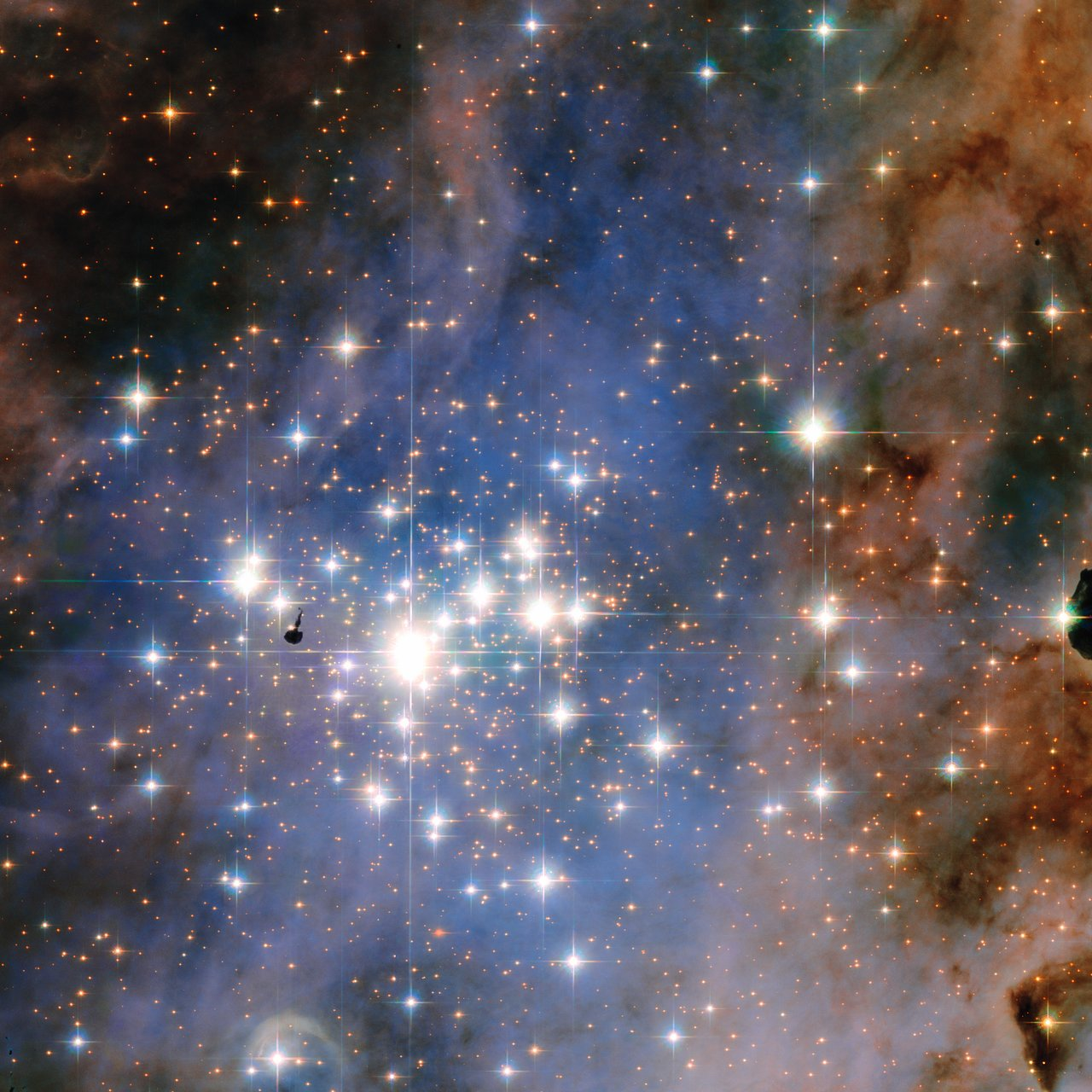 Single stars are often overlooked in favour of their larger cosmic cousins — but when they join forces, they create truly breathtaking scenes to rival even the most glowing of nebulae or swirling of galaxies. This NASA/ESA Hubble Space Telescope image features the star cluster Trumpler 14. One of the largest gatherings of hot, massive and bright stars in the Milky Way, this cluster houses some of the most luminous stars in our entire galaxy.