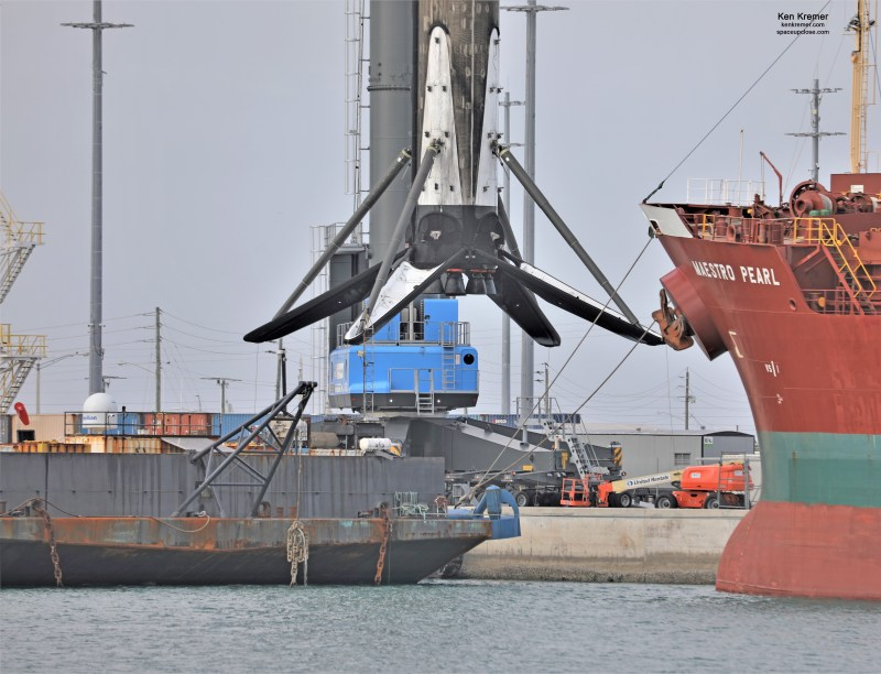 4th Time Recovered SpaceX 1st Stage from 3rd Starlink Launch Craned off Droneship onto Land: Photos