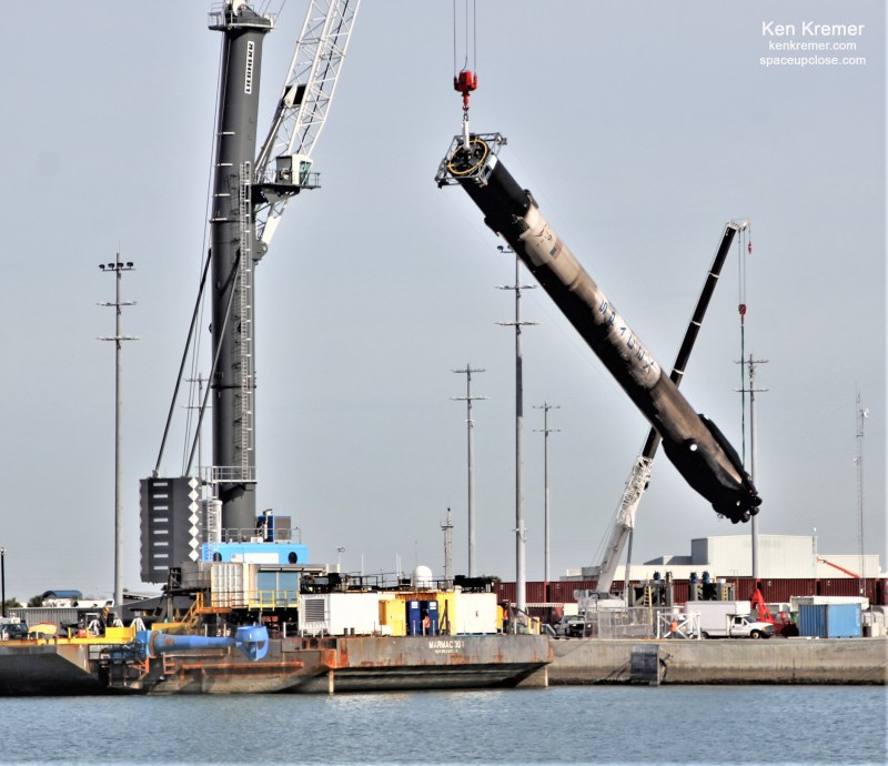 Despite Hard Droneship Landing SpaceX Retracts All 4 Recycled Falcon 9 Starlink Landing Legs, Lowered Horizontal for Cape Transport: Photos
