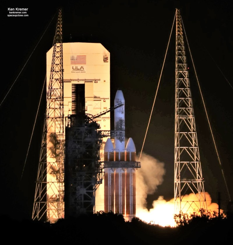 Dramatic Dead of Night Hot Fire Pad Abort Scrubs ULA Delta IV Heavy Launch: Photos