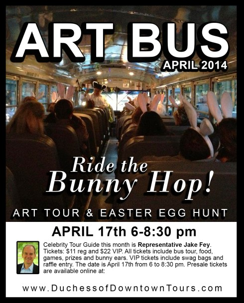 Hop on the Artbus for a chance to meet the artists, join the Easter egg hunt, and whatever additional shenanigans might be part of your ride.  Click here to get tickets.