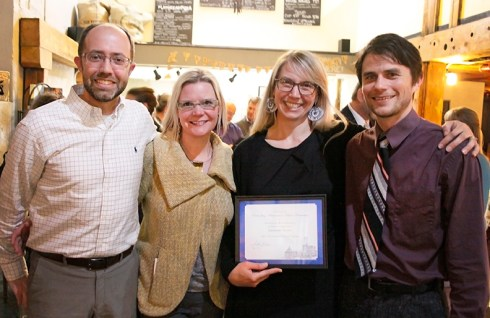 From left: David Schroedel, Metropolitan Development Director at the Tacoma-Pierce County Chamber.  Amy McBride, Arts Administrator at the City of Tacoma. Heather Joy, Spaceworks Manager.  Gabriel Brown, Spaceworks Assistant.