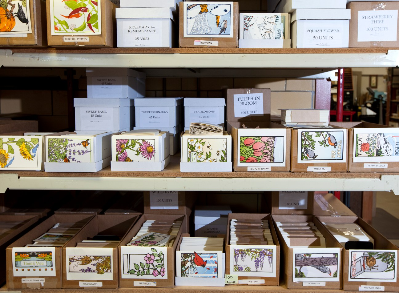 Yoshiko Yamamoto keeps her stock organized to ensure good supply of notecards available for purchase through The Arts & Crafts Press storefront and online. Customers enjoy the vibrant images featuring natural themes from Tacoma and around the world. (Photos by Patrick Hagerty)