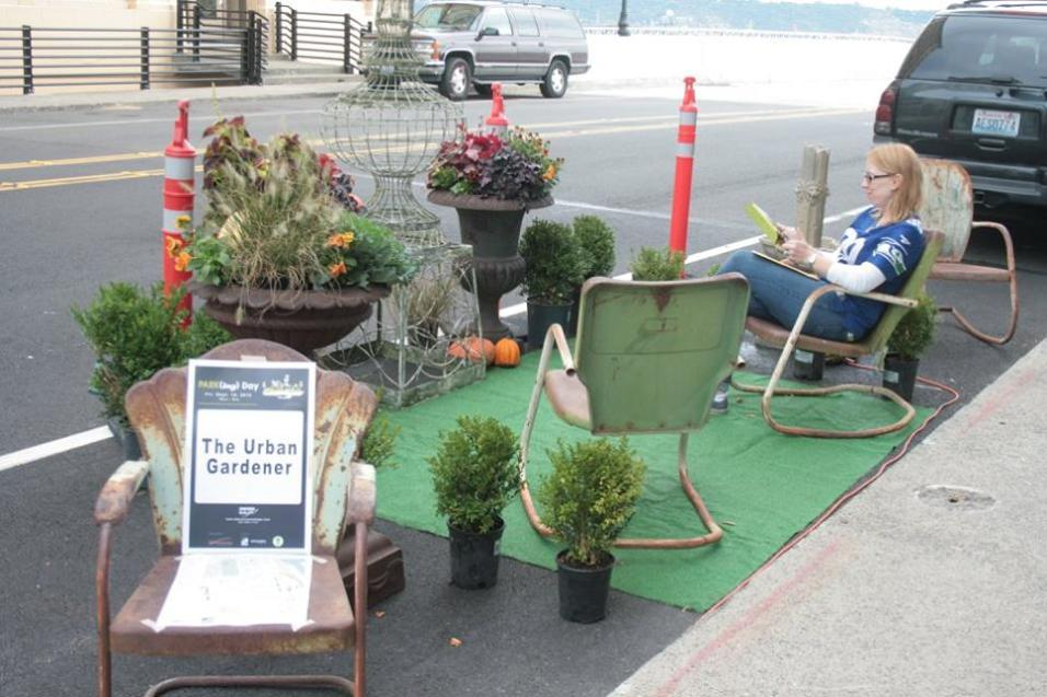 The Urban Gardener set up a quiet getaway on A Street during PARK(ing) Day 2015