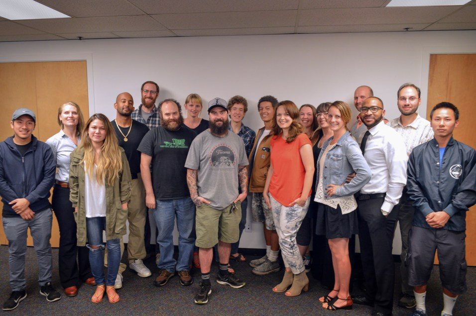 Entrepreneurs in Creative Enterprise Tier I class of Fall 2016. Left to Right: Kalvin Trancao, Rachel Lionheart, Sasha Ashworth, LeShawn Gamble, Adam Utley, Jeff Southard, Abby Kok, Jeff Cormier, Devon Baldwin, Josiah French, Rochelle Bergstrom, Erin Severe, Naarah Mcdonald, Monique Smith, Aaron Schmookler, Roshaun Yates, Mihael Blikshteyn, & Michael Chansavang. Photo by Spaceworks.