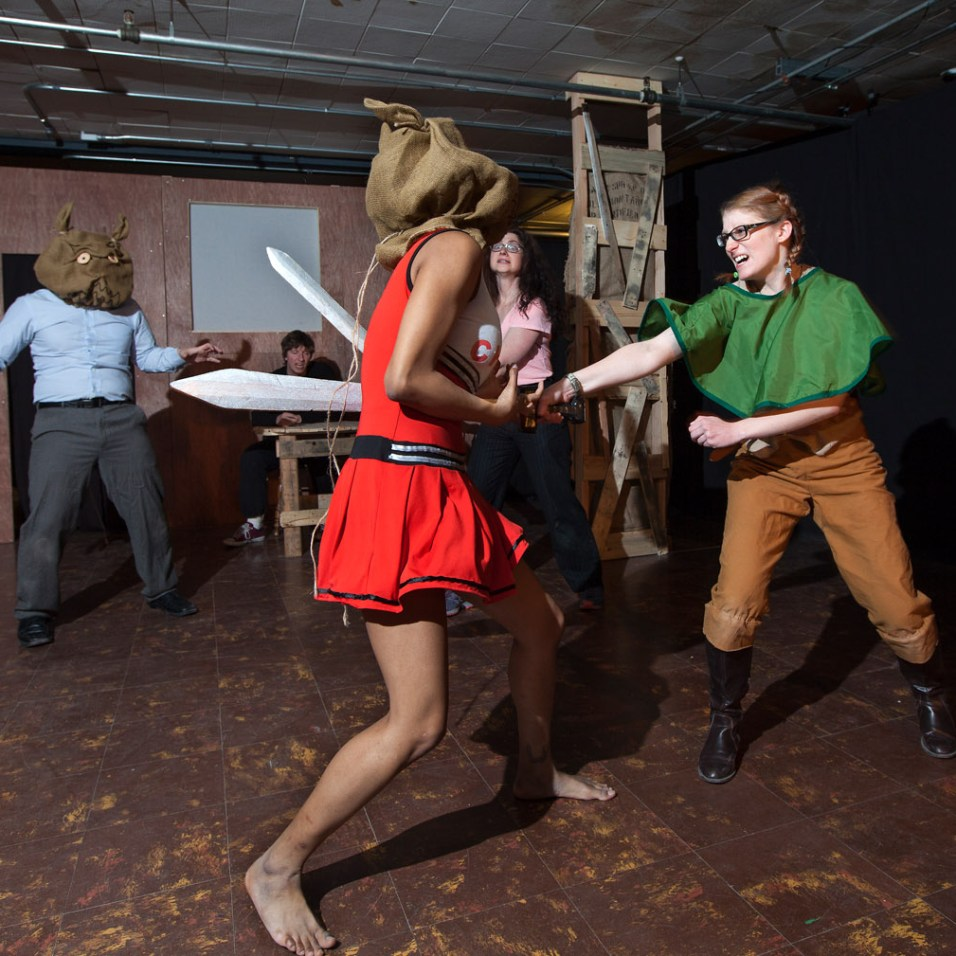Tacoma Actors Repertory Theater engage in friendly swordplay. Photo by Patrick Hagerty.
