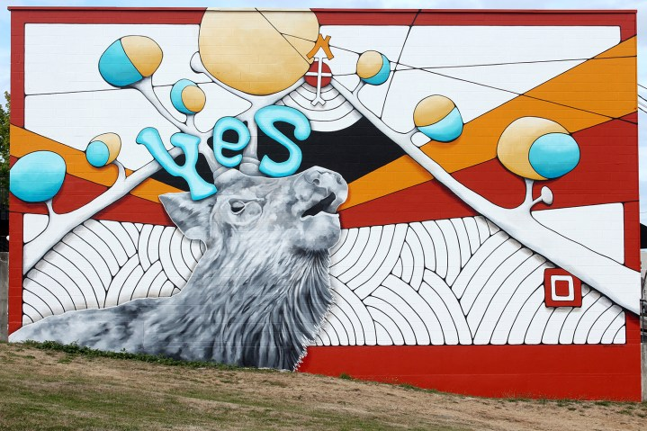 """Mindy Barker, """"Yes"""", 29'x46' acrylic mural (2014)"""