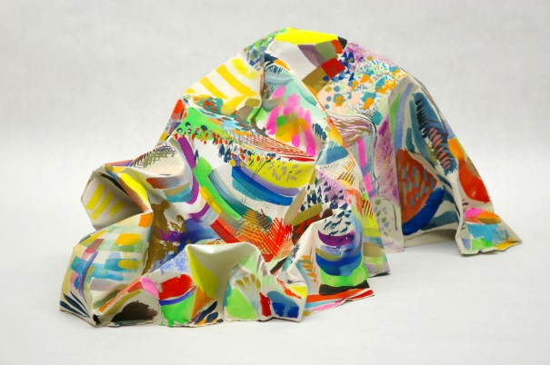 "Nicholas Nyland, ""Studio Mountain"", 21″x13″x12″(h) gouache and acrylic on shaped paper (2007)"