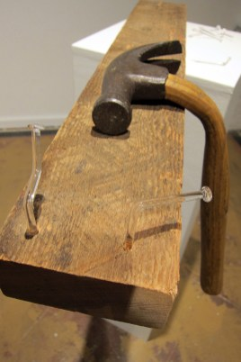Todd Jannausch, Found hammer head, steam bent handle and glass nails
