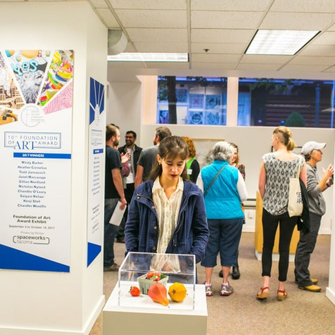 Gallery visitors mingle at the 10th Foundation of Art Award Opening Reception, On September 19th, 2017. photo by Scott Haydon.