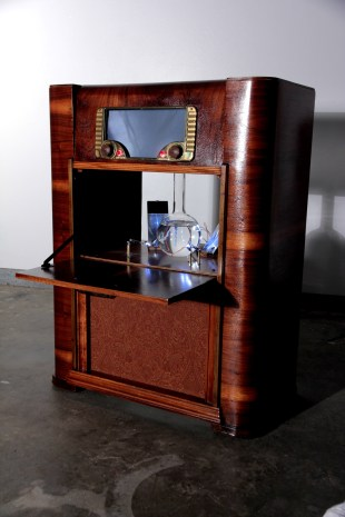 Cyclon-o-phone Andy Behrle found objects, electronics, LEDs, copper, glass, water, and rubber 2014