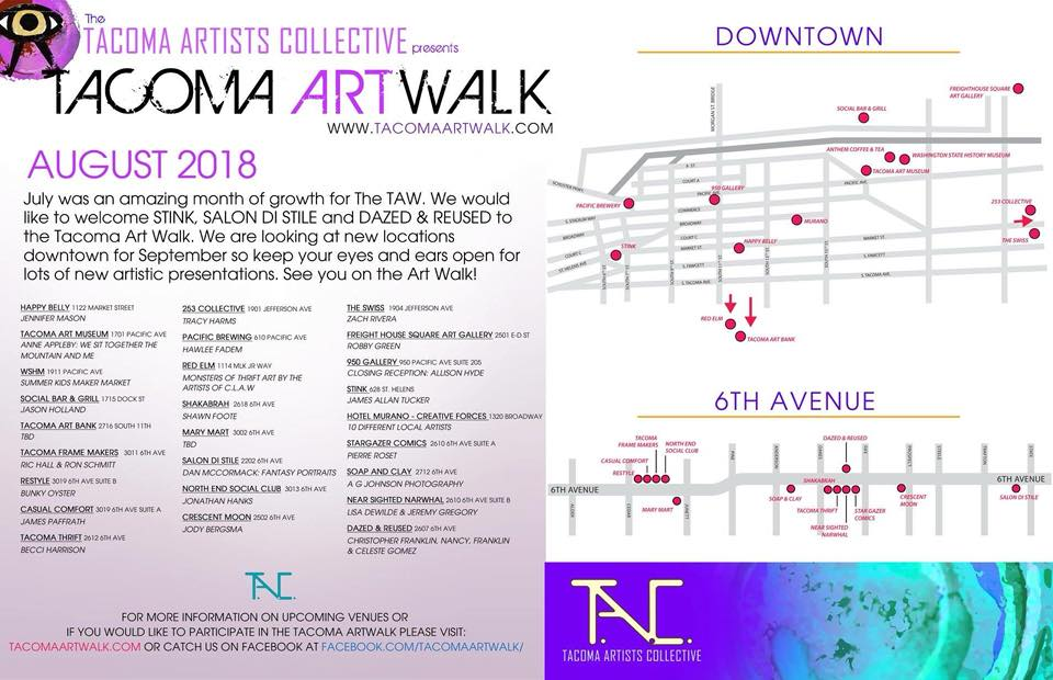 Map of Tacoma Artwalk August 2018