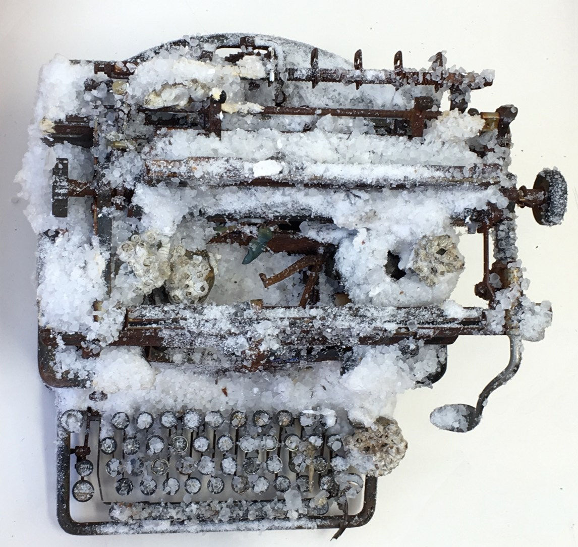 """""""What Remains"""" by Mary Coss, cast salt, cement, plaster, found objects, rubber, salt"""