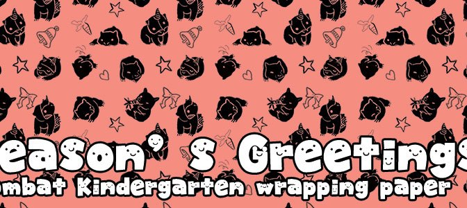 Seasons Greetings from the wombats – free wrapping paper for you