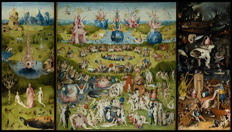 ボスの最高傑作、快楽の園。世界の30点ほどしか残っていないという言われるボスの作品の多くがプラド美術館にあります。
