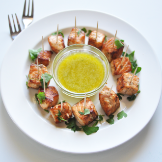 Salmon Skewers with a Lemon Sauce