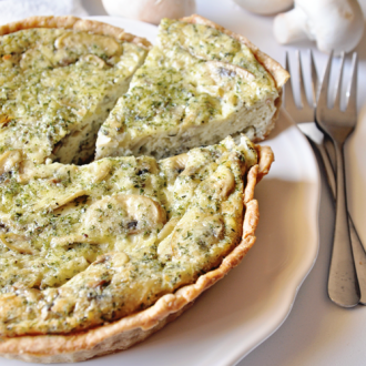 Mushroom Quiche with Herbs and Homemade Pie Crust