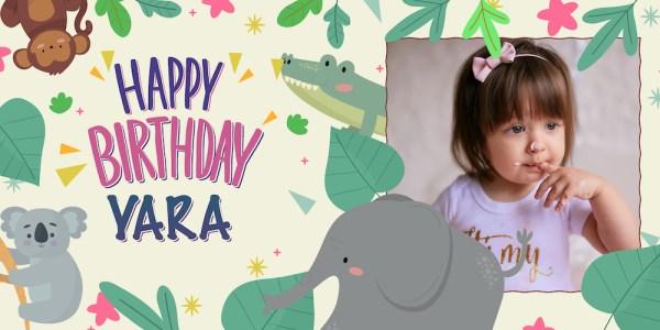 happy birthday spandoek jungle meisje