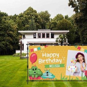 verjaardag spandoek monsters tuin meisje