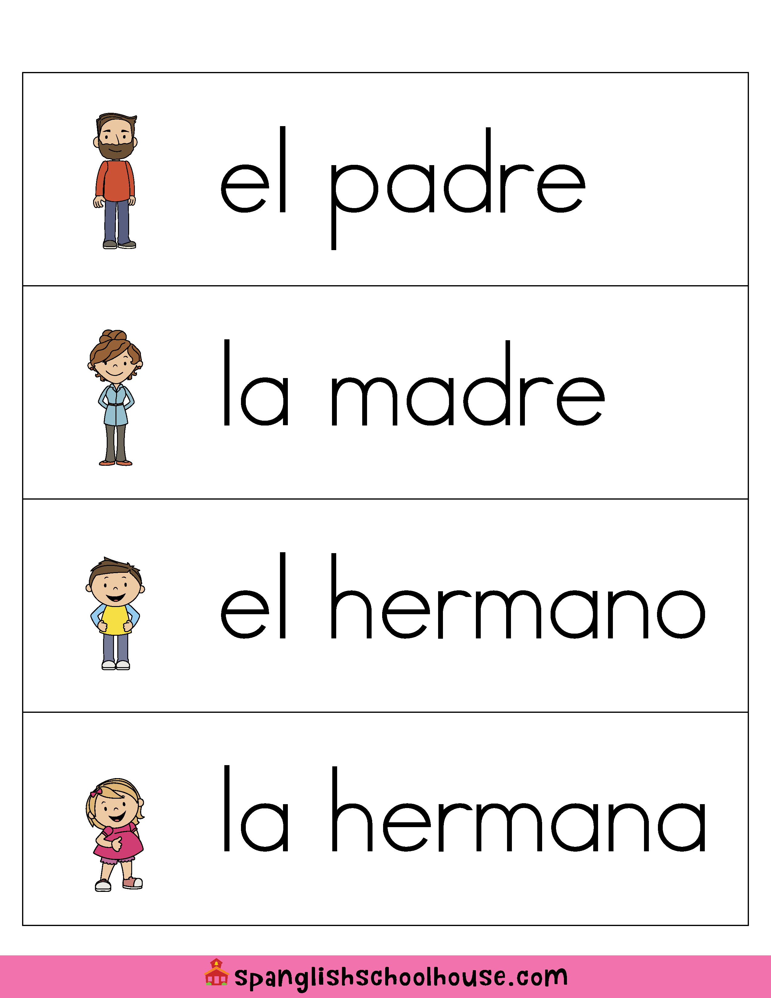 La Familia Family Vocabulary In Spanish
