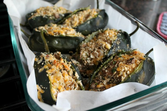 Baked poblano peppers with mushrooms 11